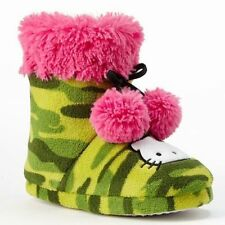 NWT Hello Kitty® Camouflage Plush Bootie Slippers Size 11/12, 13/1