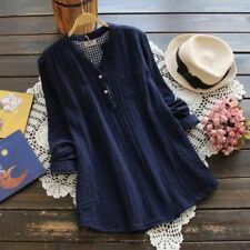 Women Solid Vintage Long-sleeved Stand Collar Cotton Linen Casual Blouses
