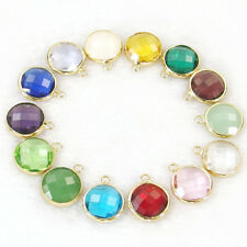 10Pcs gold plated framed faceted Czech crystal glass charm beads round pendants