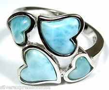 Rare AAA Genuine Larimar Inlay Solid 925 Sterling Silver Heart Ring Size 6,7,8,9