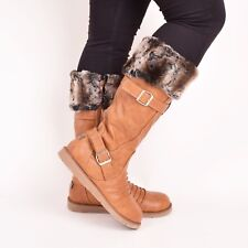 Ladies Womens Winter Snow Boots Warm Fur Lining Flat Zip Buckle Casual Shoes 3-8