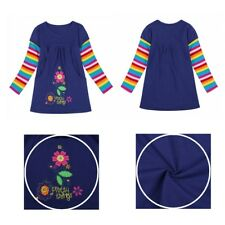 Baby Kids Girls Dress Long Sleeves Flower Applique Striped T-Shirt Tops Clothes