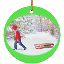 Winter Scene Child and Sleigh Ceramic Christmas Ornament