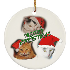 Meowy Christmas Cats Tree Ornaments Crafted Ceramic White Red Green Round Oval