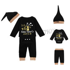 3Pcs Infant Baby Boy Girl New Year 2018 Outfit Tops Romper Pants Hat Set Outfits