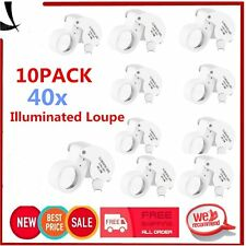 10PCS 40X 25mm POWER JEWELER LOUPE LED LOOP MAGNIFIER MAGNIFING Glass LIGHTED OI