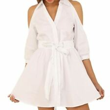 Women White Color Polyester Material Turn-down Collar Half Sleeve Mini Dress