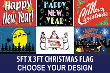 HAPPY CHRISTMAS NEW YEAR FLAG 5FT X 3FT CHOICE OF DESIGN NEW PREMIUM POLYESTER