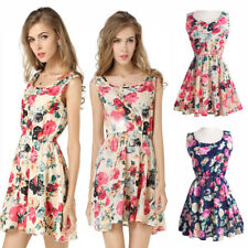 Women lady Chiffon Skirt Sleeveless Pleated printing Dress Evening vest skirt