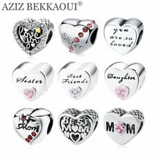 Heart-shape Beads Bracelet Diy Letters Charms Silver Color Heart Beads for Mom S