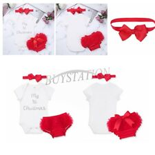 New Infant Baby Girls My 1st Christmas Outfit Romper+Bloomers+Headband Set 3-18M