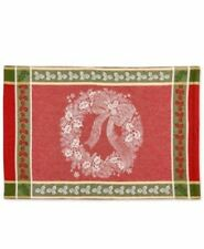 Bardwil Linens Christmas Holly Wreath Placemat Holiday Red Gold NEW T4