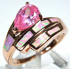 18k Rose Gold 925 Sterling Silver Pink Fire Opal Inlay & Pink Topaz ring Sz 6-9