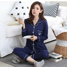 Spring Ladies Long Sleeve Pajamas Set Womens Cotton Sleepwear Nightgown PJs