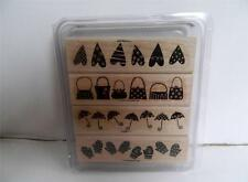 2005 Stampin Up Weather or Not Set of 4 Rubber Stamps Mounted NIP Retired