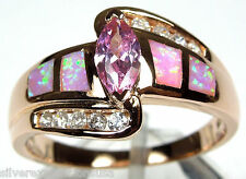 Rose Gold Plated Pink Topaz & Pink Fire Opal Inlay 925 Sterling Silver Ring sz 9