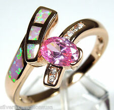 Rose Gold Plated Pink Topaz & Pink Fire Opal Inlay 925 Sterling Silver Ring