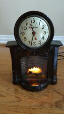 Mastercrafters Animated Fireplace Clock Lighted # 272 Vintage WORKS! Art Deco