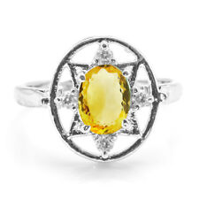 925 Sterling Silver Ring with Oval Cut Yellow Citrine Natural Gemstone Handmade