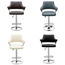Swivel Bar Chair Stools Kitchen Breakfast PU Leather Barstool Chrome Footrest