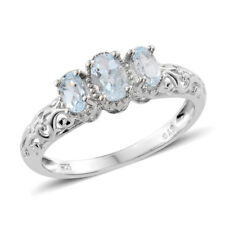 Sky Blue Topaz Platinum Over Sterling Silver 3 Stone Ring  TGW 1.15 ct