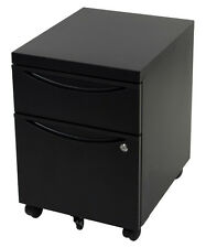 2 Drawer Mobile Filing Cabinet Home Office Storage Furniture Locking Casters