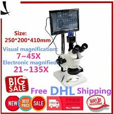 """7-45X Trinocular Stereo Zoom Microscope with Double Boom Stand + 8"""" LCD MonitoOE"""
