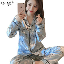 Womens ladies Silk Satin Pyjamas Set Sleepwear Loungewear Nightwear 6-20