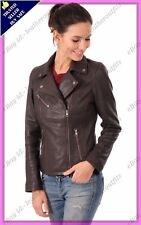 Womens Genuine Lambskin Motorcycle Real Leather Jacket Slim fit Biker Jacket #88