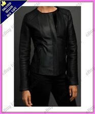 Womens Genuine Lambskin Motorcycle Real Leather Jacket Slim fit Biker Jacket #57