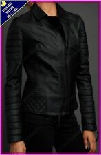 Womens Genuine Lambskin Motorcycle Real Leather Jacket Slim fit Biker Jacket #55