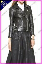 Womens Genuine Lambskin Motorcycle Real Leather Jacket Slim fit Biker Jacket #77