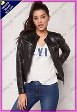 Womens Genuine Lambskin Motorcycle Real Leather Jacket Slim fit Biker Jacket #83