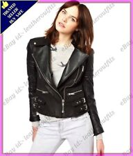 Womens Genuine Lambskin Motorcycle Real Leather Jacket Slim fit Biker Jacket #63