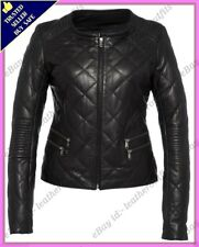 Womens Genuine Lambskin Quilted Real Leather Jacket Slim fit Biker Jacket #84