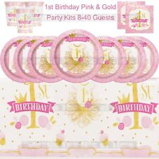 1st First Birthday Girls Pink Party Supplies Plates Cups Tableware Party Kits