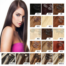 """14""""-24"""" Straight Wave Clip In Hair Extensions100% Remy Human Hair 100g Any Color"""