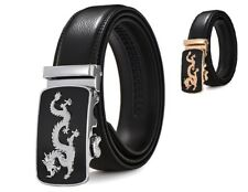 Mens Genuine Leather Belt Casual Automatic Buckle Dragon Strap Luxury Waist