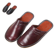 Men Slipper Shoes Classic Leather Closed Toe Indoor House Home Slippers Size9-11