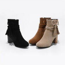 Womens Ankle Boots bow Strappy round Martin Shoes faux suede Chunky block Heel