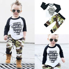2Pcs Toddler Infant Kid Baby Boys Camouflage Cotton T-shirt Tops+Pants Outfits