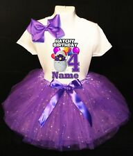 Hatchimals **With NAME** 4th Fourth 4 Birthday Purple Tutu Dress Fast Shipping