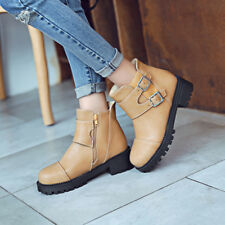 Womens Comfort Straps PU Leather shoes buckle Casual Martin Ankle boots US SIZE