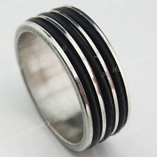 New 12-36pcs Stainless steel Women Mens Silver Black Rubber Rings Wholesale Lots