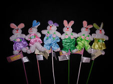 Easter Spring Bunnies Rabbits - Bunny Rabbit Wearing Cute Outfit on Stick NEW!