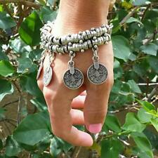 Behomia Jewelry Elegant Cuff Bracelet Anklets Chain Lucky Carved Coins Drop