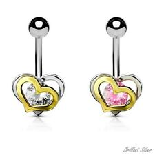 Belly Button Piercing Silver Gold Navel Piercing Stud Heart Crystal White Pink
