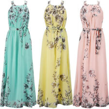 Womens Floral Print Strappy Maxi Dresses Chiffon Sleeveless Holiday Long Dresses