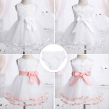 Infant Baby Girls Flower Dress+Bloomers Princess Pageant Wedding Birthday Party