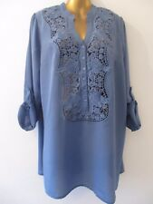 SIZE 16-28 LONGLINE LACE EMBROIDERED FRONT DENIM BLUE ROLL SLEEVE TUNIC TOP 5